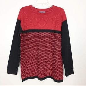 Karen Scott Red Cable Knit Sweater- L